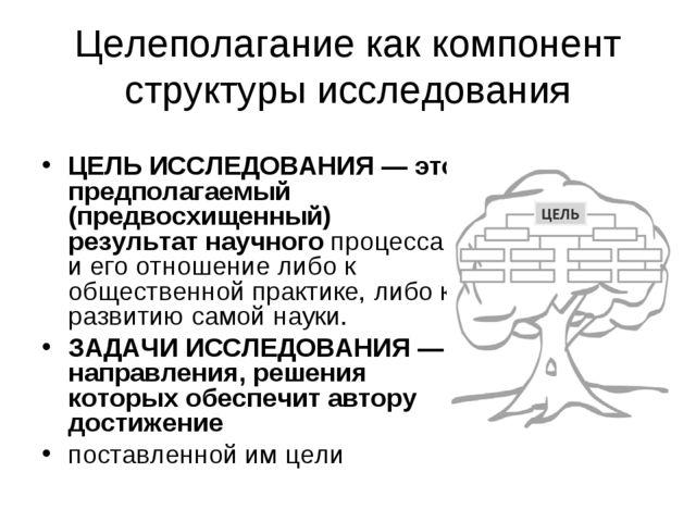 Целеполагание как компонент структуры исследования ЦЕЛЬ ИССЛЕДОВАНИЯ — это пр...