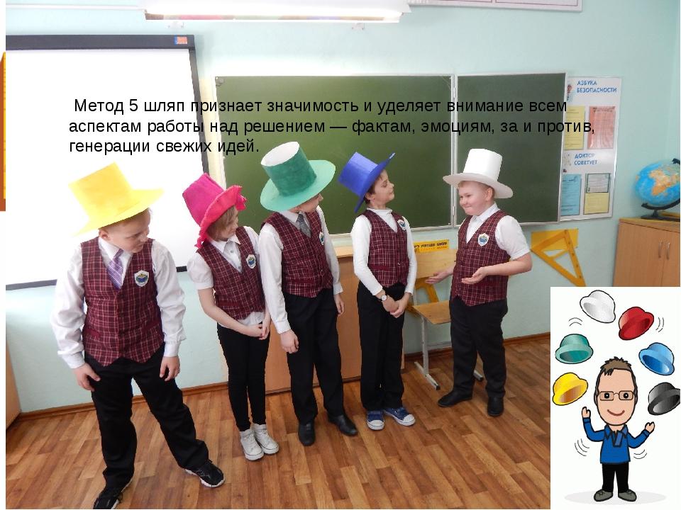 Метод 5 шляп признает значимость и уделяет внимание всем аспектам работы над...