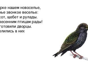 В парке нашем новоселье, Птичье звонкое веселье: Клёкот, щебет и рулады. Мы в