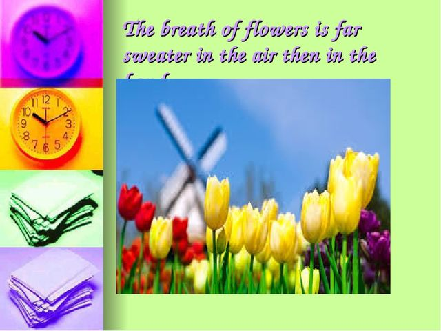 The breath of flowers is far sweater in the air then in the hand
