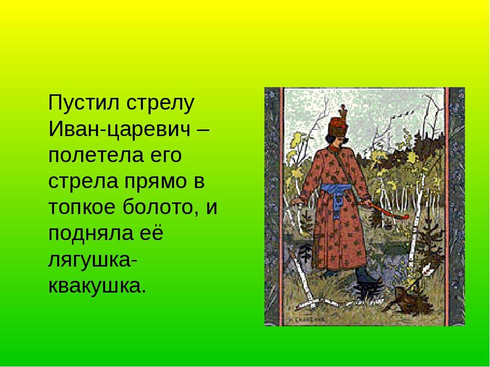 Пустил стрелу Иван-царевич – полетела его стрела прямо в топкое болото, и по...