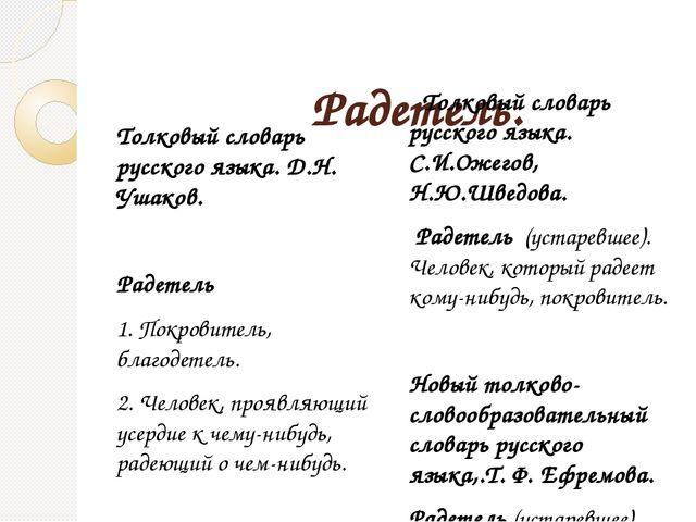 Радетель. Толковый словарь русского языка. Д.Н. Ушаков. Радетель 1. Покровит...