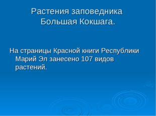 Растения заповедника Большая Кокшага. На страницы Красной книги Республики Ма