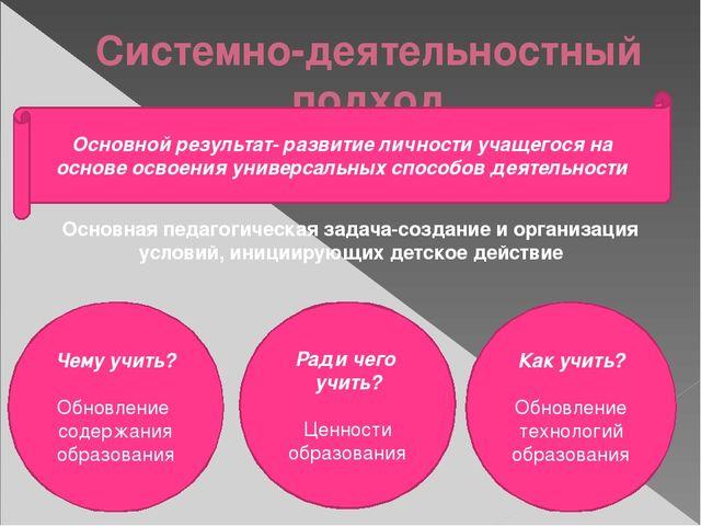 Системно-деятельностный подход  Основной результат- развитие личности учащег...