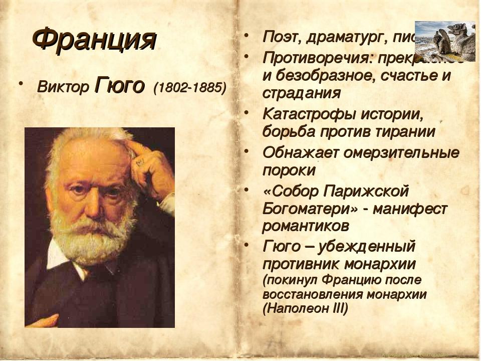 Корина Илона Викторовна Франция Виктор Гюго (1802-1885) Поэт, драматург, писа...