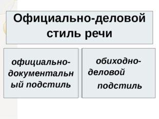 Официально-деловой стиль речи официально-документальныйподстиль обиходно-дело