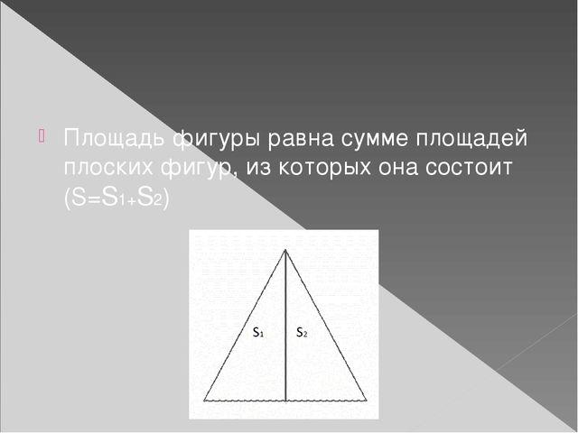 Площадь фигуры равна сумме площадей плоских фигур, из которых она состоит (S...