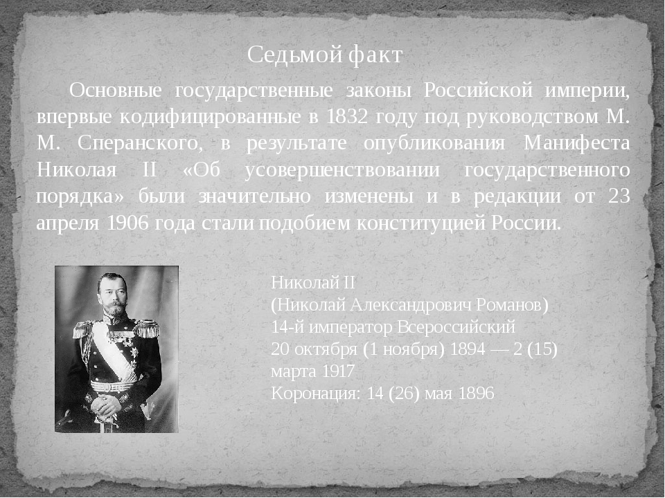 Седьмой факт Основные государственные законы Российской империи, впервые код...
