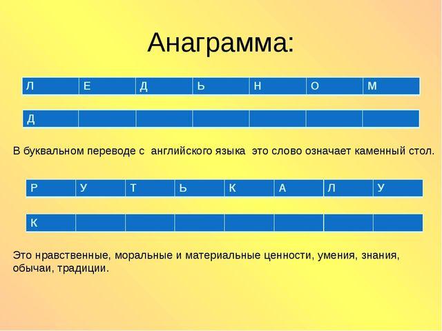 Анаграмма: В буквальном переводе с английского языка это слово означает камен...