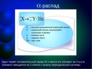 -распад Ядро теряет положительный заряд 2ē и масса его убывает на 4 а.е.м. Э