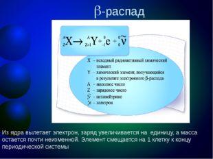 -распад Из ядра вылетает электрон, заряд увеличивается на единицу, а масса о