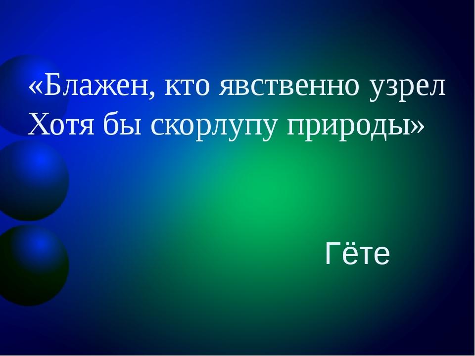 «Блажен, кто явственно узрел Хотя бы скорлупу природы» Гёте