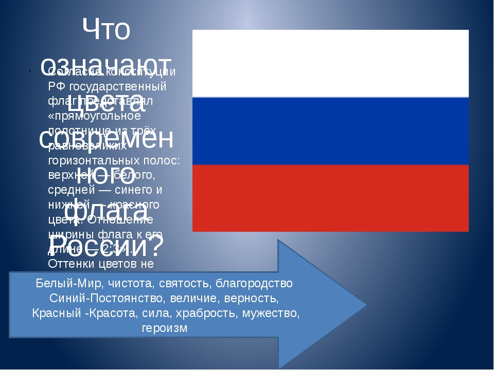 Что означают цвета современного флага России? Согласно конституции РФ госуда...