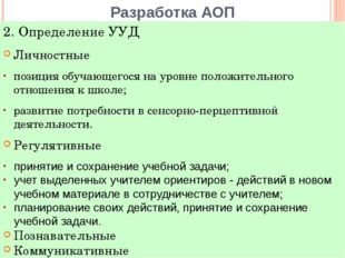 Разработка АОП Личностные позиция обучающегося на уровне положительного отнош