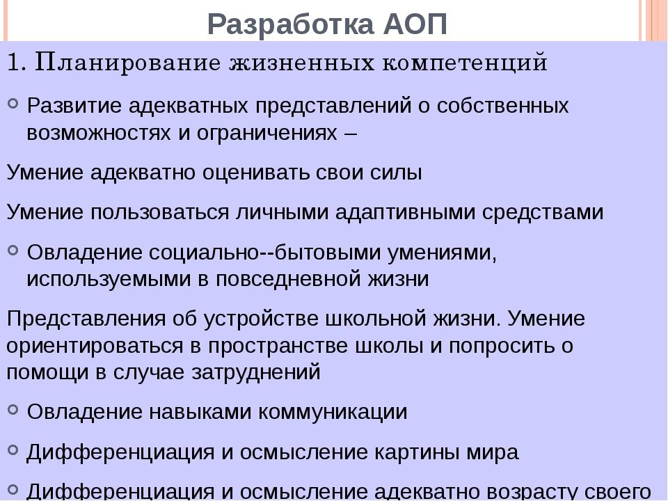 Разработка АОП Развитие адекватных представлений о собственных возможностях и...