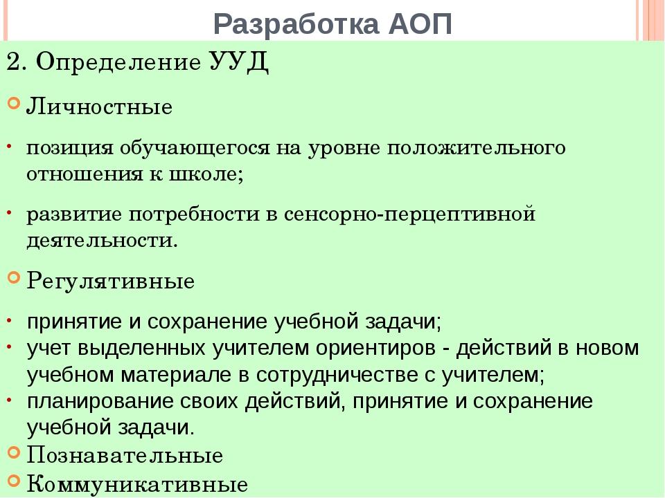 Разработка АОП Личностные позиция обучающегося на уровне положительного отнош...