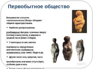 Первобытное общество Большинство статуэток «палеолитических Венер» обладают о