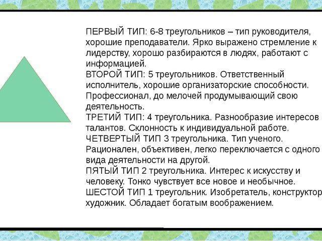 ПЕРВЫЙ ТИП: 6-8 треугольников – тип руководителя, хорошие преподаватели. Ярк...