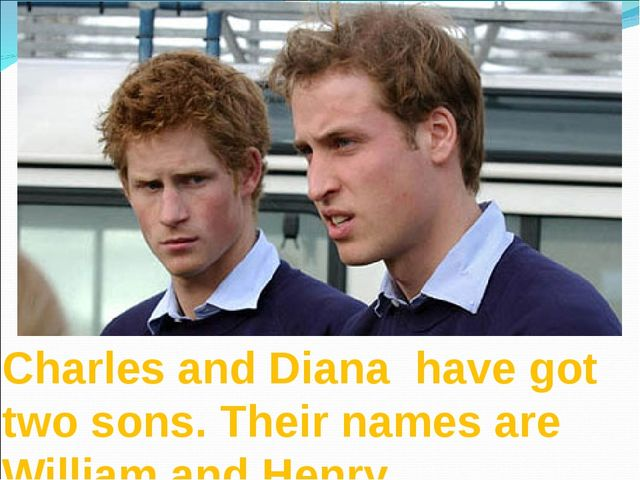 Charles and Diana have got two sons. Their names are William and Henry.