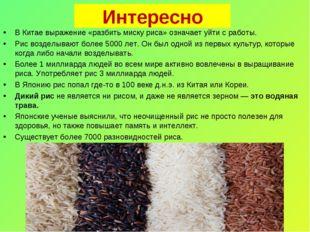 Интересно ВКитае выражение «разбить миску риса» означает уйти сработы. Рис