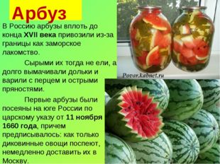 Арбуз В Россию арбузы вплоть до конца XVII века привозили из-за границы как з