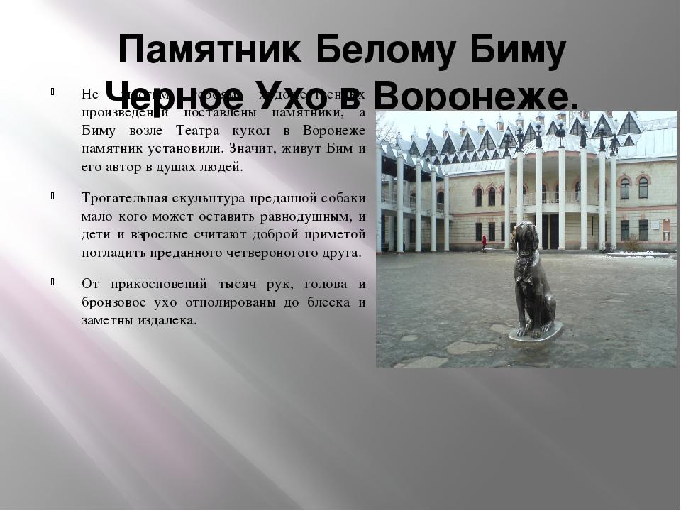 Памятник Белому Биму Черное Ухо в Воронеже. Не многим героям художественных п...