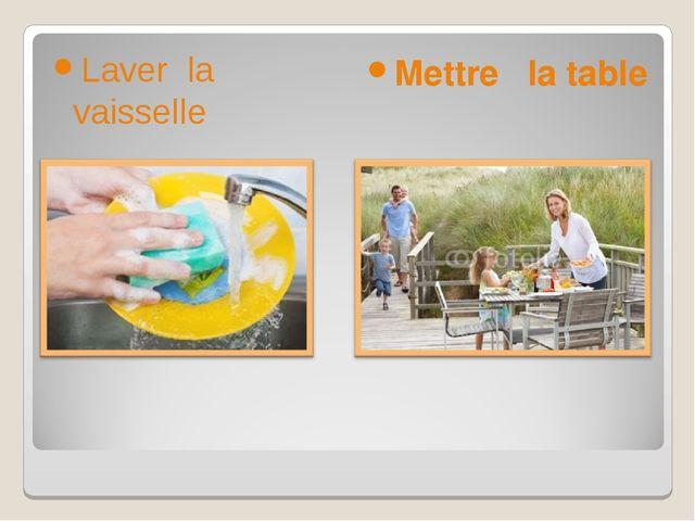 Laver la vaisselle Mettre la table