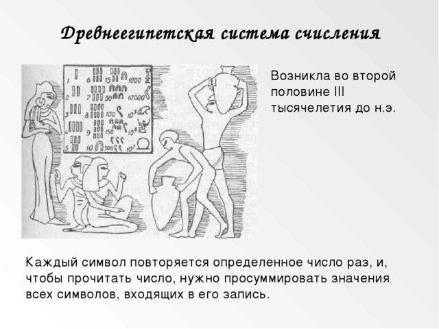 Древнеегипетская система счисления Возникла во второй половине III тысячелети...