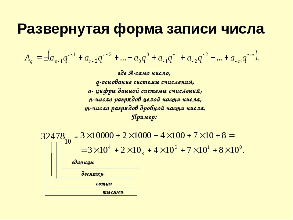 где А-само число, q-основание системы счисления, а- цифры данной системы счи...