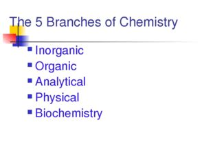 The 5 Branches of Chemistry Inorganic Organic Analytical Physical Biochemistry