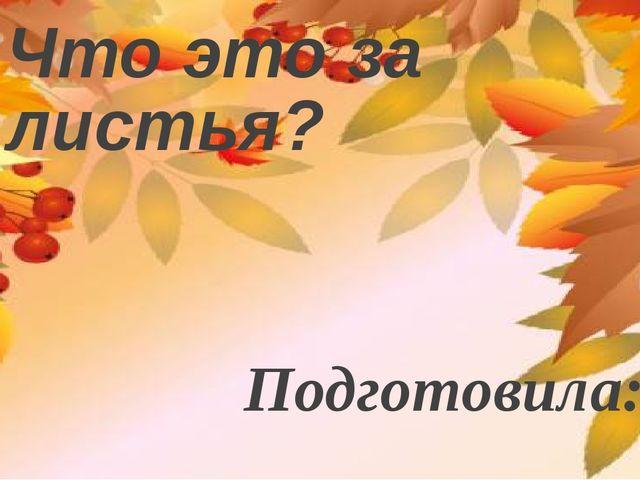 Что это за листья? Подготовила: Маракова Елена Николаевна учитель начальных к...