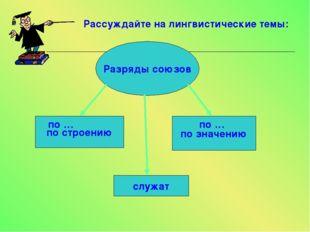 Рассуждайте на лингвистические темы: Разряды союзов по строению по значению п
