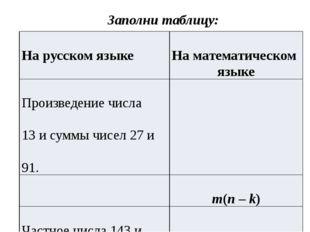 Заполни таблицу: Нарусском языке Наматематическом языке Произведениечисла 13и