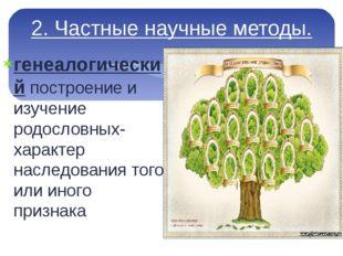 2. Частные научные методы. генеалогический построение и изучение родословных-