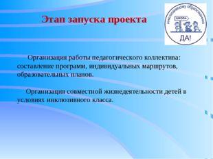 Этап запуска проекта Организация работы педагогического коллектива: составлен