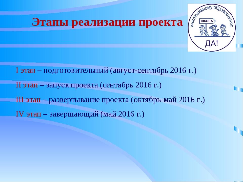 Этапы реализации проекта I этап – подготовительный (август-сентябрь 2016 г.)...