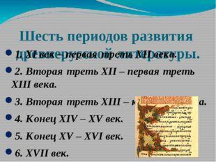 Шесть периодов развития древнерусской литературы. 1. XI век – первая треть XI