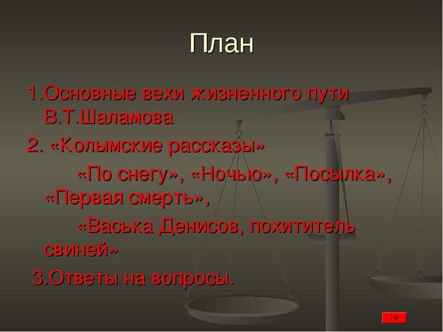 План 1.Основные вехи жизненного пути В.Т.Шаламова 2. «Колымские рассказы» «По...
