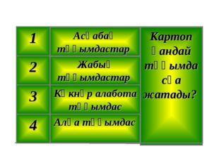 Алқа тұқымдас 4 Көкнәр алабота тұқымдас 3 Жабық тұқымдастар 2 Картоп қандай т