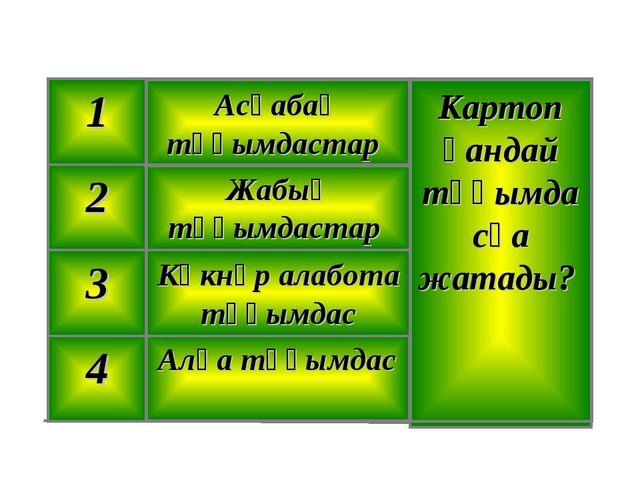 Алқа тұқымдас 4 Көкнәр алабота тұқымдас 3 Жабық тұқымдастар 2 Картоп қандай т...