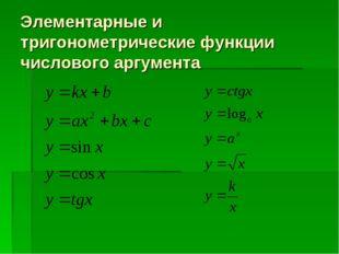 Элементарные и тригонометрические функции числового аргумента