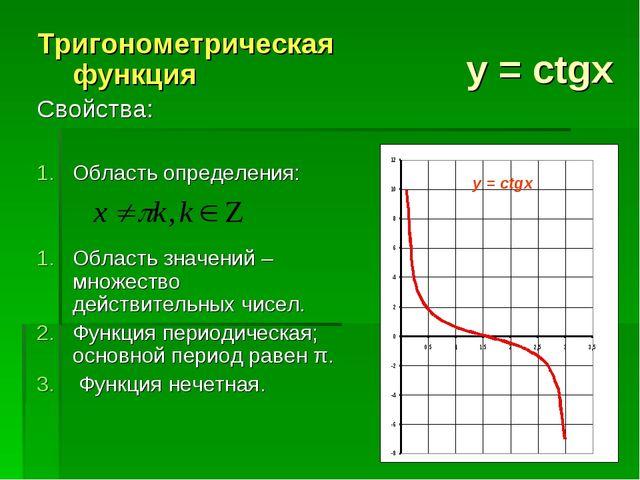 y = ctgx Тригонометрическая функция Свойства: Область определения: Область зн...