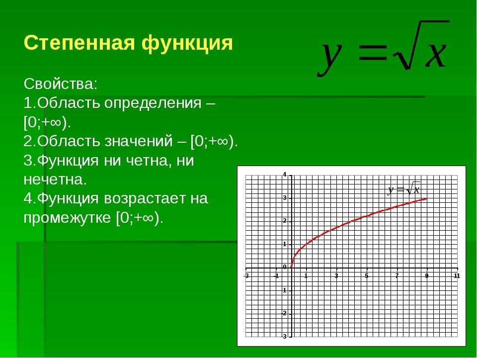 Степенная функция Свойства: Область определения – [0;+∞). Область значений –...