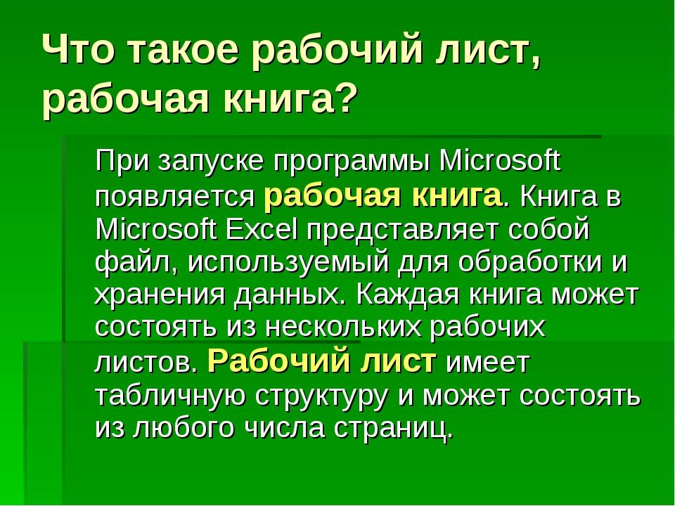 Что такое рабочий лист, рабочая книга? При запуске программы Microsoft появл...