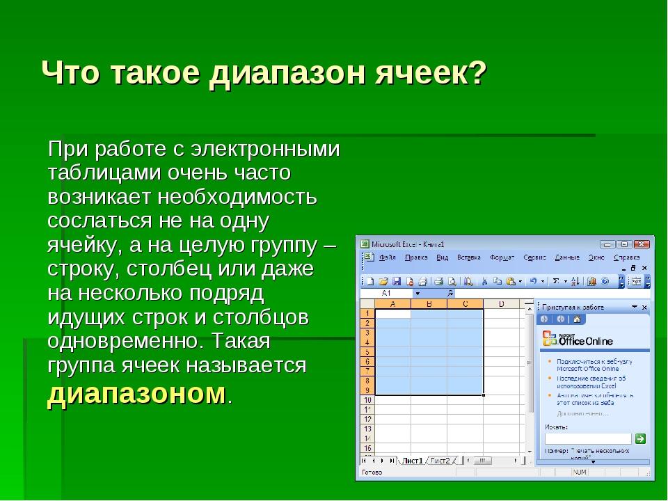 Что такое диапазон ячеек? При работе с электронными таблицами очень часто во...