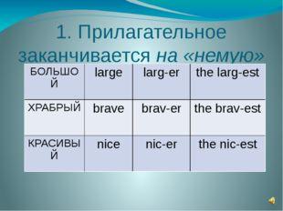 1. Прилагательное заканчивается на «немую» Е БОЛЬШОЙ large larg-er the larg-e
