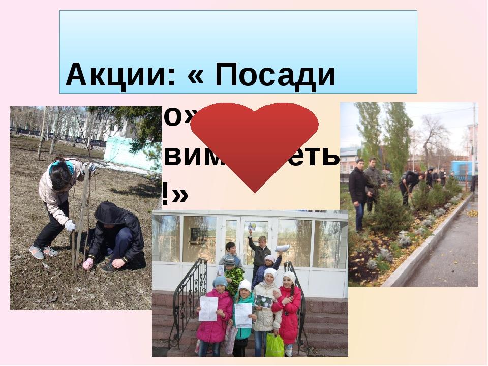 Акции: « Посади дерево» «Оставим цветы весне!»