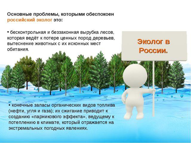 Основные проблемы, которыми обеспокоен российский эколог это: бесконтрольная...