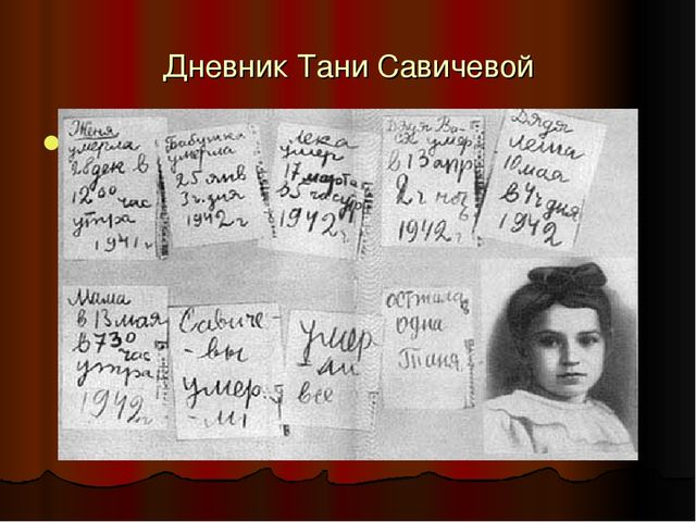Дневник Тани Савичевой 8 сентября 1941 г. - 27 января 1944 г.