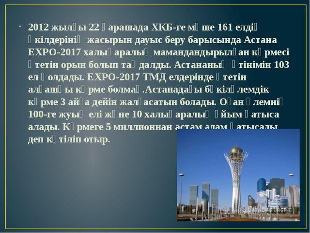 2012 жылғы 22 қарашада ХКБ-ге мүше 161 елдің өкілдерінің жасырын дауыс беру...